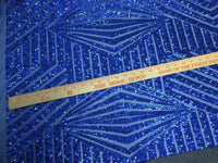 Royal Blue Geometric Sequins Embroider On A Mesh Lace.Prom/Nightgown/Bridal/Lace