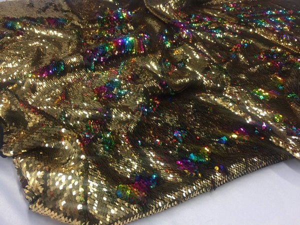 Reversible Sequins Fabric Multicolor Gold Sold By Yard