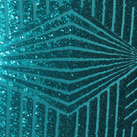 Turquoise Blue Geometric Designer Bombshell Stretch Sequin Lace Sold By The Yard