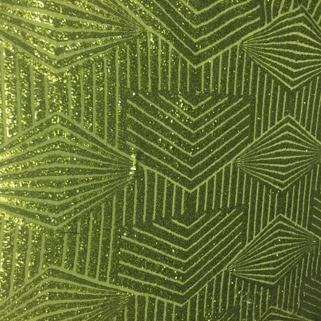Olive Green Geometric Bombshell Design Stretch Sequin Lace Sold By The Yard