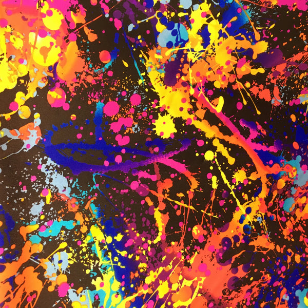 Paint splatter print nylon lycra spandex four way stretch fabric sold by yard