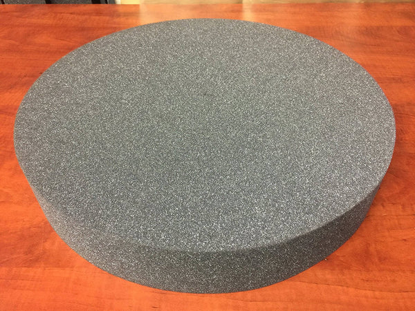 "CHARCOAL Round Stool Seat Chair Upholstery Foam Pad Cushion. 14"" Diameter By 2"" High. Medium Regular Density."