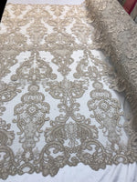 Lace Fabric - Embroidered Sequin Mesh Taupe Bridal Wedding Dress By The yard