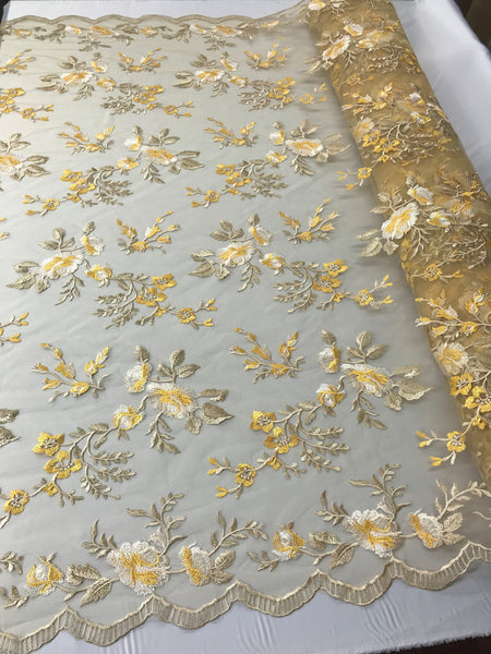 Lace Fabric - Floral/Flower Multi-Color Gold Embroidered Mesh For Dress Bridal Veil Wedding Decoration By The Yard