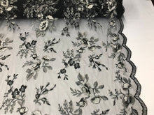 Load image into Gallery viewer, Lace Fabric - Floral/Flower Multi-Color Black Embroidered Mesh For Dress Bridal Veil Wedding Decoration By The Yard