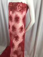 Lace Fabric - Red Gaviota Design Embroider Beaded Mesh Dress Wedding Decoration Bridal Veil Nightgown By The Yard