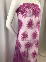 Lace Fabric - Magenta Gaviota Design Embroider Beaded Mesh Dress Wedding Decoration Bridal Veil Nightgown By The Yard