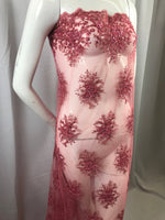 Lace Fabric - Coral Gaviota Design Embroider Beaded Mesh Dress Wedding Decoration Bridal Veil Nightgown By The Yard