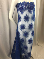 Lace Fabric - Royal Blue Gaviota Design Embroider Beaded Mesh Dress Wedding Decoration Bridal Veil Nightgown By The Yard