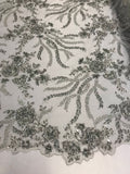 Embroidered Beaded Fabric - Silver Multi-Color Floral Bridal Lace Flower Mesh Dress For Wedding Decoration By The Yard