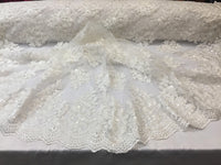 White Lace Fabric - Corded Flowers Embroidery With Sequins For Wedding Dress Bridal Veil By The Yard