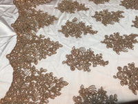 Coffee Lace Fabric - Corded Flowers Embroidery With Sequins For Wedding Dress Bridal Veil By The Yard