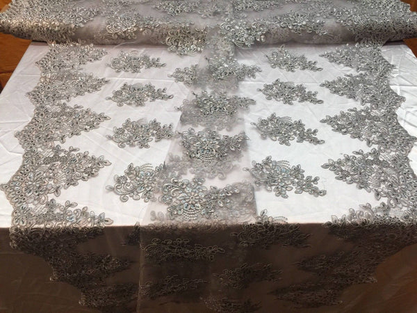 Silver Lace Fabric - Corded Flowers Embroidery With Sequins For Wedding Dress Bridal Veil By The Yard