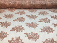 Lt Rose Lace Fabric - Corded Flowers Embroidery With Sequins For Wedding Dress Bridal Veil By The Yard