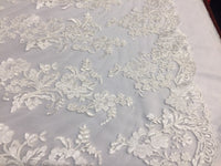 Embroidered Lace fabric - Ivory Flower/Floral Corded Mesh Bridal Wedding Dress By The Yard