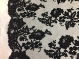 Embroidered Lace fabric - Black Flower/Floral Corded Mesh Bridal Wedding Dress By The Yard