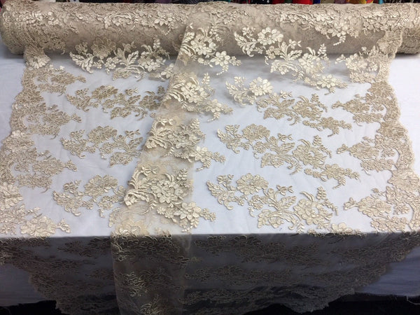 Embroidered Lace fabric - Champagne Flower/Floral Corded Mesh Bridal Wedding Dress By The Yard