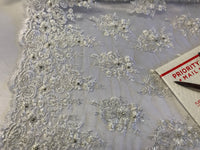 White Bridal Beaded - Hand Embroidered With Basins And Diamonds For Veil Mesh Dress Top Wedding Decoration By The Yard