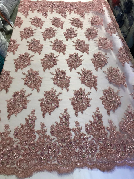 Blush Pink Bridal Beaded - Hand Embroidered With Basins And Diamonds For Veil Mesh Dress Top Wedding Decoration By The Yard