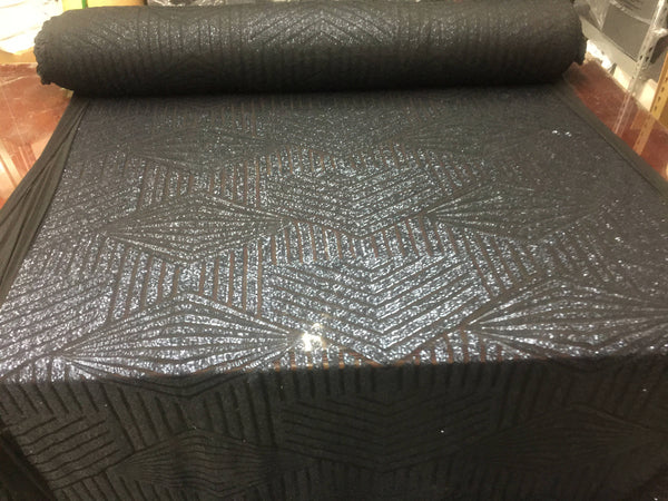 Sequins Fabric - Geometric Diamond Sequin Shiny Navy Mesh Lace By The Yard 4-way stretch