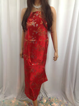 Load image into Gallery viewer, Asian Designs stunning faux silk dragon phoenix Brocade satin Red fabric designer material by yard