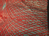 Supreme Red Venom Diamond Web Embroider Sequins On Black Mesh Lace Fabric-Prom-