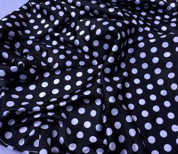 Black/white 1/2inch Polka Dot Silky/soft Charmeuse Satin Fabric. (20 Yards)