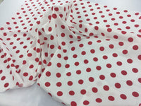 "Poly Cotton White Red Polka Dot Designs 1"" By Yard"