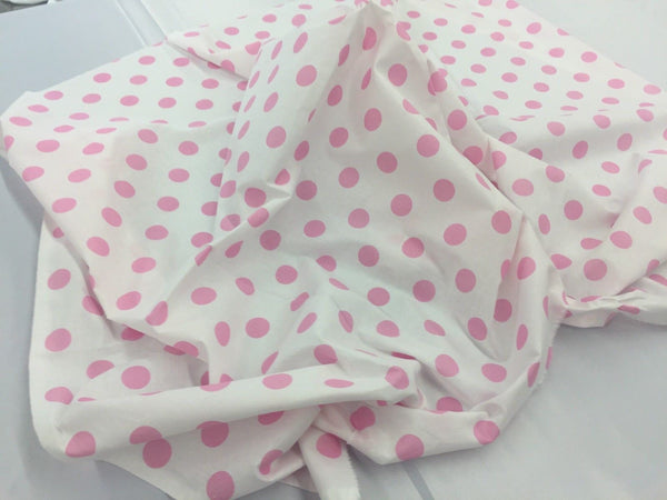 Poly Cotton Fabric White Pink Polka Dots Design By Yard