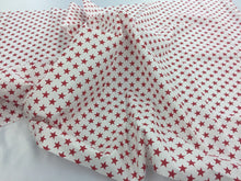 Load image into Gallery viewer, Poly Cotton Fabric Stars Design Red Sold By Yard