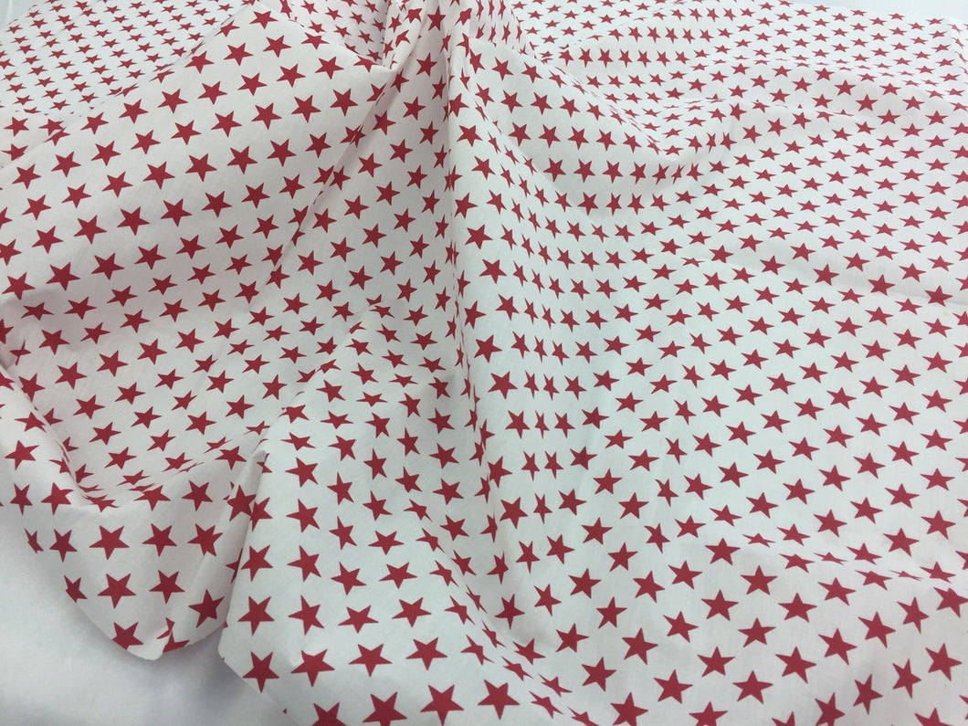 Poly Cotton Fabric Stars Design Red Sold By Yard