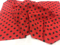Poly Cotton Fabric Red Black Polka Dots Design By Yard