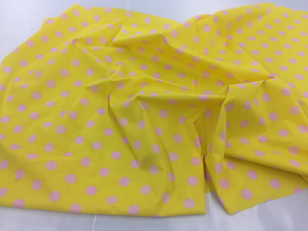 Poly Cotton Fabric Yellow Pink Polka Dot Design By Yard