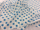 Poly Cotton Fabric Polka Dot Design White Turquoise By Yard