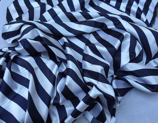 White/navy 1inch Soft/silky Charmeuse Satin Fabric. Sold By The Yard.