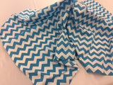 Poly Cotton Fabric Zig Zag Design Turquoise White By Yard