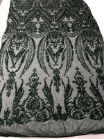 4 Way Stretch Fabric Sequins By The Yard - Hunter Green Embroidered Mesh Dress Top Fashion For Bridal Veil Wedding Lace Decoration