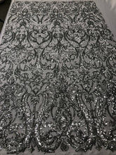 Load image into Gallery viewer, 4 Way Stretch Fabric Sequins By The Yard - Silver Embroidered Mesh Dress Top Fashion For Bridal Veil Wedding Lace Decoration