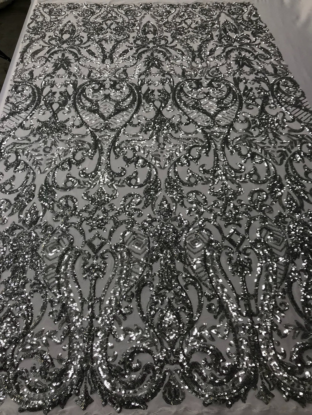 4 Way Stretch Fabric Sequins By The Yard - Silver Embroidered Mesh Dress Top Fashion For Bridal Veil Wedding Lace Decoration