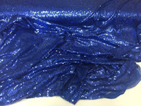 Mermaid sequins fabric-Mini Sequins Embroider Mesh Royal Blue By The Yard