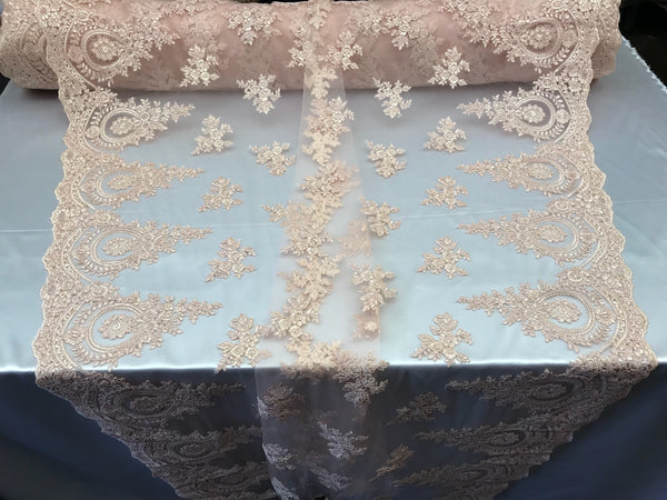 Lace fabric By The Yard - Blus Pink Embroidred Corded Mesh Flower-Floral Bridal Veil Wedding Dress