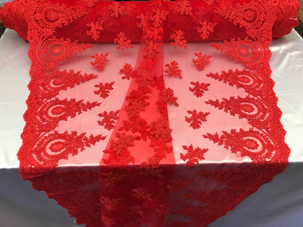 Lace fabric By The Yard - Red Embroidred Corded Mesh Flower-Floral Bridal Veil Wedding Dress