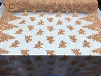Lace fabric By The Yard - Caramel Embroidred Corded Mesh Flower-Floral Bridal Veil Wedding Dress