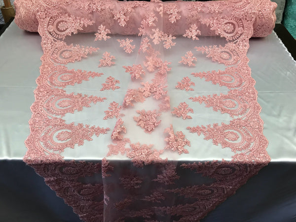 Lace fabric By The Yard - Pink Embroidred Corded Mesh Flower-Floral Bridal Veil Wedding Dress