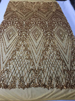4 Way Stretch Fabric - Gold Embroidered Sequins Lace Fashion Dress Bridal Veil Wedding Decoration By The Yard