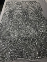 4 Way Stretch Fabric - Silver Embroidered Sequins Lace Fashion Bridal Dress Veil Wedding Decoration By The Yard