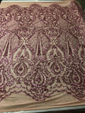 Sequins Fabric 4 way Stretch - Dusty Rose Embroidered Mesh Lace For Dress Top Fashion Bridal Wedding Decoration By The Yard