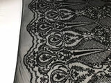 Sequins Fabric 4 way Stretch - Black Embroidered Mesh Lace For Dress Top Fashion Bridal Wedding Decoration By The Yard