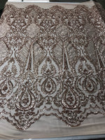Sequins Fabric 4 way Stretch - Rose Gold Embroidered Mesh Lace For Dress Top Fashion Bridal Wedding Decoration By The Yard