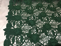 Guipure Lace Fabric By The Yard Hunter Green Embroidered Bridal Veil Wedding Dress Decoration